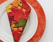 Autumn Splendor Cotton Napkins / Set of 4 / Fall Season & Thanksgiving Colorful Leaves Table Decor / Unique Eco-Friendly Gift Under 50