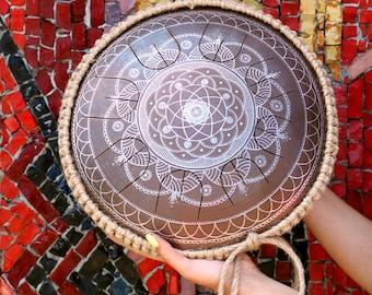 "Steel Tongue Drum - GUBAREV drum MINI Overtone ""Dnipro"" with rope decoration, Handpan, music instrument, metal drum, percussion, Pantam"