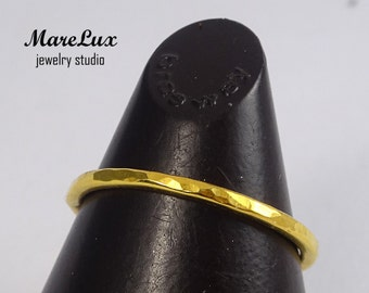 Thick Hammered Stacking Gold Ring, 1.5 mm Hammered Band, Thick Stackable Ring, 24K Gold Fill Hammered Stacker, Minimal Ring, Thick Stackers