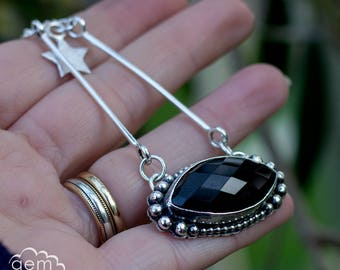 The Witching Hour - Black faceted Onyx  with part handmade chain and charms