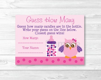 Cute Pink Owl Guess How Many Game / Owl Baby Shower / Pink & Purple / Candy Guessing Game / Printable INSTANT DOWNLOAD A343