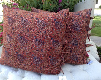 Beautiful Red and Blue Paisley Hand Blocked & Hand Printed Designer Euro Pillow, Bedding Accessory