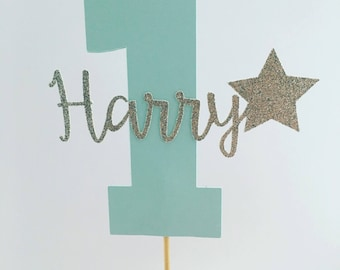 Custom Personalised Boys First Birthday Cake Topper Number One Cake Topper Baby Boy Is One 1st Birthday Cake