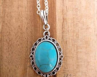 Ketting met steen, ketting blauwe steen, ketting turquoise