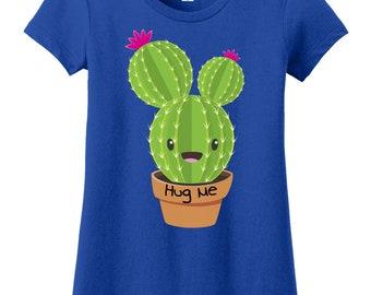 Cactus Hug Me Girl's Tee – Cactus Hugs Tee – Girl's Cactus Hugs Shirt