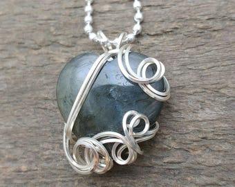 Labradorite Heart Stone Pendant