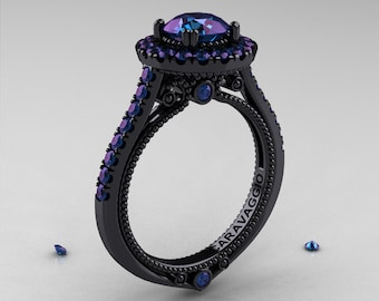 Caravaggio 14K Black Gold 1.0 Ct Russian Alexandrite Engagement Ring, Wedding Ring R621-14KBGAL