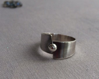 Sterling Silver wide Ring/ Oxidized Silver Ring/ Hammered Silver Ring/ Statement Ring/ Wide Silver band