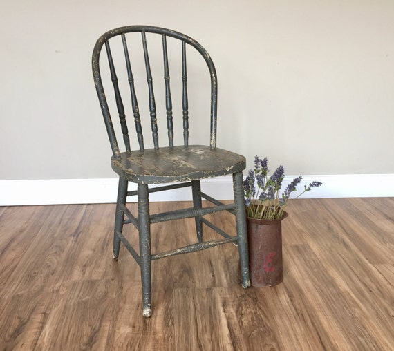 Rustic Wood Chair, Farmhouse Chair - Grey Dining Chair - Spindle Back Chair - Cottage Furniture - Antique Wood Chair - Windsor Chair