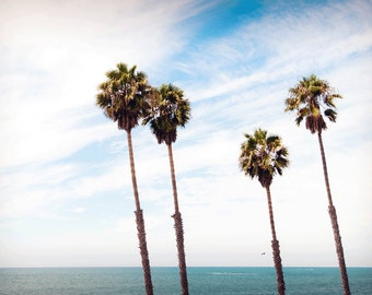 Palm Trees Beach Photography Print Seascape California Fine Art Photograph Wall Decor | Also Available on Canvas or Metal