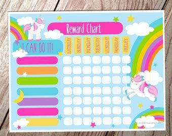 Kids Reward Chart - Unicorn - Instant Download
