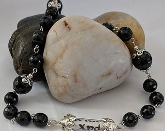 Love and Peace Chaplet - Black Onyx Paternoster Rosary with Relic Vial
