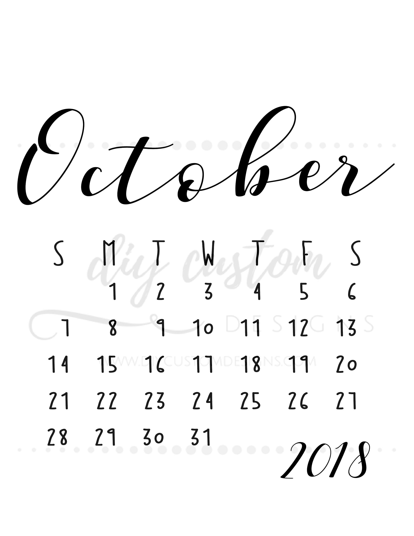 October 2018 Printable Calendar, Birth Announcement Ideas, Digital