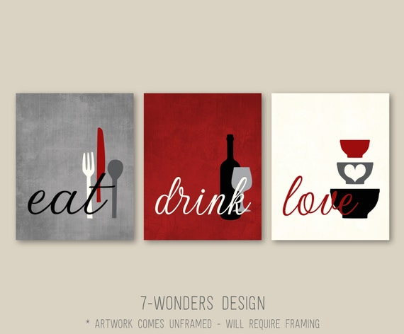 Kitchen Wall Art Print Set   Eat Drink Love   Rustic Red, Grey, Black,  Cream // Modern Kitchen Decor // Set Of (3) Many Sizes // Unframed