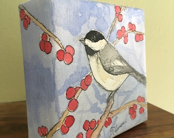 Chickadee Bird Watercolor Small Square Block Painting Canvas Nature Wall Shelf Mantle Decoration Accessory Pastel Blue Lavendar Red Berries