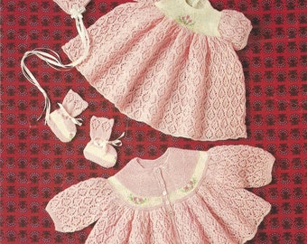 """PDF Knitting Pattern Baby Matinee Coat and Dress to fit sizes 18-19"""" (D352)"""