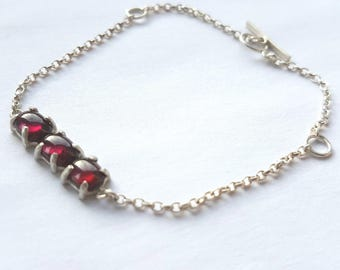 Garnet bracelet, garnet jewellery, garnet jewelry, gemstone bracelet, garnet and silver, January birthstone, contemporary bracelet,