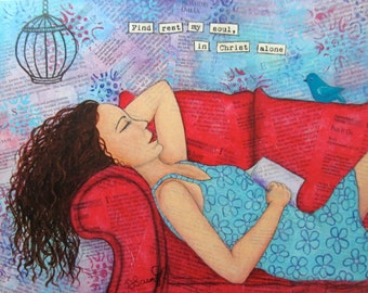 In Christ Alone, Find Rest, Print on Wood