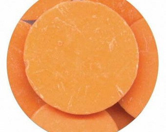 Orange 7 oz Merckens Confectionery Coating - Chocolate Melts 7 ounce bag Disks