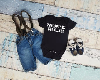 Nerds Rule, Funny Nerd Baby Bodysuit , Nerd Lover Baby Outfit, Baby Shower Gift, Baby Gift, New Mom