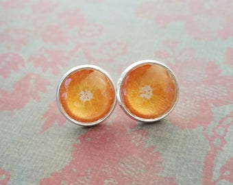 20% OFF - Orange fruit slice Cabochon Stud earrings ,Cute Gift Idea ,Man Dad