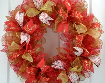 Red Gold Christmas Wreath - Gold Christmas Door Wreath - Christmas Front Door Wreath - Red Christmas Mesh Wreath -Gold Christmas Mesh Wreath