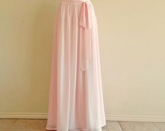 Blush Pink Bridesmaid Skirt. Blush Pink Maxi Skirt. Long Evening Skirt.  Chiffon Floor Length Skirt.
