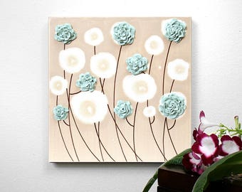 Textured Canvas Art, Teal Painting on Canvas, Sculpted Teal Flowers, Square Small Canvas Art - Select a Size