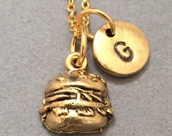 Burger necklace, burger charm, food necklace, personalized necklace, initial necklace, initial charm, monogram