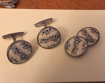 Vintage Cuff links Set ( 3 piece) Music sheet Notes , Made in France
