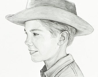 Johnny Crawford Portrait as Mark McCain from The Rifleman Drawing