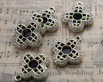 10 Flower Ceramic Charms w/ Crystal Glass Antiqued Gold Tone 21 x 21 x 2 mm