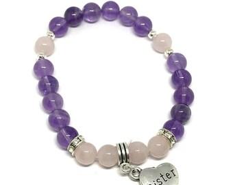 Bespoke Crystal Healing Sister Charm Bracelet