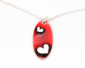 Oval silver Valentine Heart Necklace Sterling and Red resin