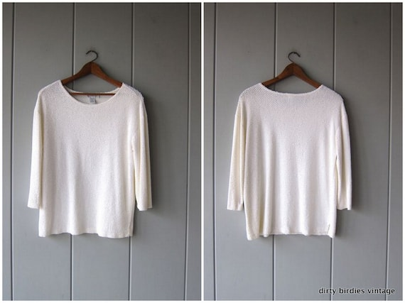 Slouchy White Top 90s Thin Woven Nubby Tunic Top Shirt MINIMAL Long Sleeve Thin Textured Knit Shirt Vintage Womens Large