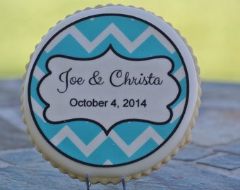 Personalized Wedding Cookie Favor - Chevron Pattern