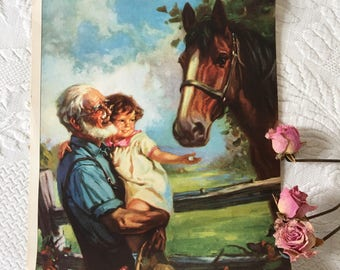Vintage Print Called Old Fashioned Friendship. Grandpa Holding Little Girl With Sugar Cube In Her Hand for a Horse. Old Picture Print.