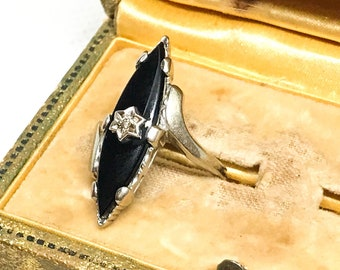 1940s Black Onyx and Diamond Ring, 10kt White Gold Coctail Ring, Art Deco Ring, Women's Vintage Ring