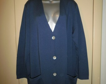 """Vintage 100% Pure Wool Italian Indigo color Cardigan with Mother Pearl Buttons 2 pockets """" Luisa Spagnoli"""" made in Italy"""