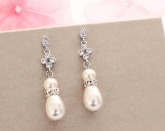 Pearl bridesmaid earrings, crystal pearl earrings, bridesmaid gift, crystal bridal earrings, bridal jewelry, pearl drop, wedding earrings