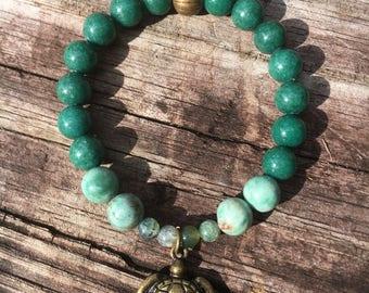 Sea Turtle Charm Beaded Bracelet