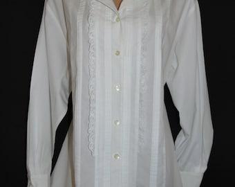 Laura Ashley Vintage Ruffled Lace Trimming Pintucks White Cotton Blouse, Size 14 UK