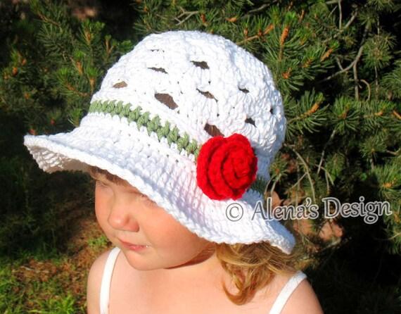 Crochet Pattern 169 - Crochet Hat Pattern Sun Hat - Crochet Pattern Summer Hat Women Hat Toddler Child Teen Adult Girls Ladies Lace Hat