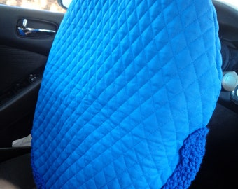 Royal Blue Quilted Steering Wheel Cover, Gift for Mom, Present for Grad, Steering Wheel Protector, Keep Cooler Cover, Removable