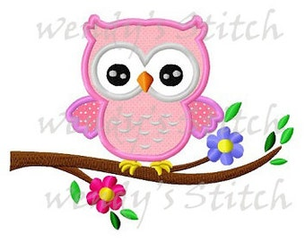 Owl on a flower tree applique machine embroidery design digital pattern