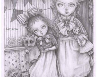 Subrina and Rosabel, a signed A5 Giclée art print