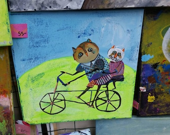 Whimsical critter painting. Bicycle.  Animals. Children's decor. Wall hanging. Nursery decor