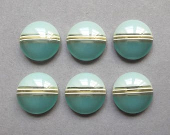 6 vintage two-tone Mint green and turquoise 18 mm buttons