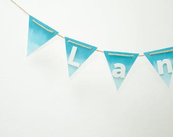 Gift for baby shower -  Wood name banner - Christening gift for boy - Gift for toddler boy - Custom garland nursery decor - Turquoise ombre