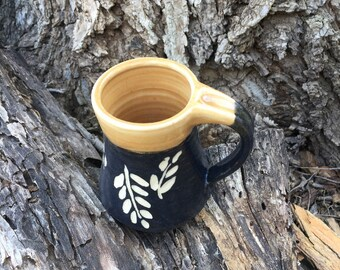 Yellow Black and White Pottery Mug Leaf Design Handmade by Daisy Friesen